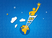 Achieving new heights. Person on top of ladder reaching after star in night sky, blue background. Illustration