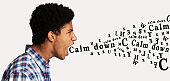 Furious Afro Guy Shouting Calm Down Inscription Over White Background