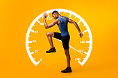 Collage with African American sportsman walking or running and speedometer on orange background