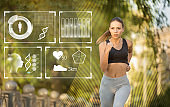 Professional runner training in park, collage with fitness tracker data on imaginary screen. Empty space