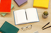 Close up of open book with glasses and cactus