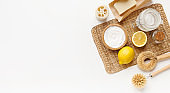 Bio natural cleaners - lemon, baking soda, salt on white