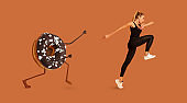 Fitness Woman Running Away From Tasty Donut Over Brown Background