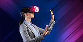 Business innovations. Collage with young lady wearing virtual reality device on color background, empty space