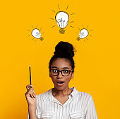 Genius problem solutions. Collage with shocked black woman pointing up at light bulbs over her head, yellow background