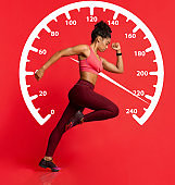 Fast African American sportswoman running against red background with speedometer, collage