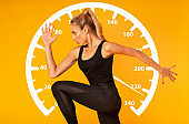 Side view of strong sportswoman running on orange background, collage with velocity meter