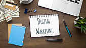 Flat lay of laptop, money and notebook with words DIGITAL MARKETING on office table
