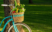 Eco lifestyle concept with blue retro bicycle and organic products