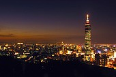 Skyscraper in a city at night, Taipei 101, Taipei, Taiwan