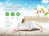 펼쳐진 책과 꽃, 나비 등의 봄 관련 이미지로 이루어진 홈페이지