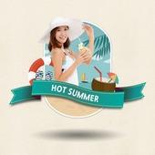코코넛 음료를 들고있는 여자의 여름