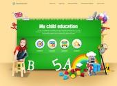 녹색 공책과 꼬마 소녀를 배경한 교육 홈페이지