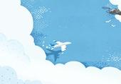 수채화, 바다, 구름, 비행기