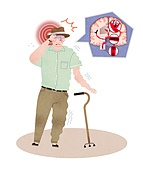 할아버지, 노인, 허리, 요통, 질병, 건강관리