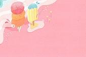 수채화, 여름, 백그라운드
