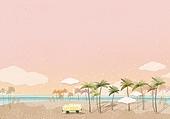 수채화, 여름, 바다, 노을