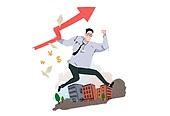 비즈니스, 성공, 성장, 일러스트