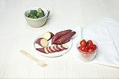 소품,음식,포크,음식재료,날것,고구마,방울토마토,브로콜리,슬라이스