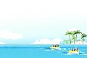 수채화, 바다, 여름
