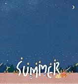 수채화, 여름, 캠핑