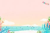 여름, 수채화, 백그라운드, 바다