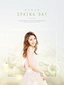 여성, 봄, 꽃