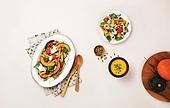 오브젝트,음식,접시,채소,나무숟가락,포크,단호박,샐러드