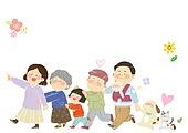 수채화, 가족, 보험, 함께, 행복