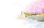 수채화, 봄, 벚꽃, 공원
