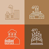 Vector set of linear icons and logos