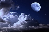 night sky with the moon, clouds and stars