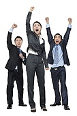 A team of businesspeople cheering