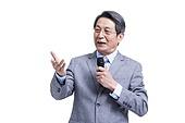 Senior man giving a speech