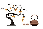 Chinese tea and persimmon tree