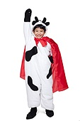 Boy Dressed as a Superhero Cow