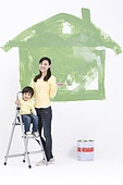 Mother and son doing DIY home improvement