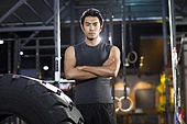Portrait of young man at gym