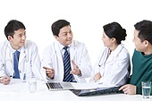 Professional doctors in discussion