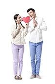 Retro couple expressing love