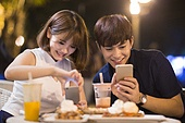 Happy young couple dating