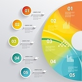 3D Infographic. Can be used for number options, workflow layout,