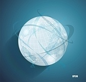 Abstract globe symbol with smooth vector shadows and  map of the