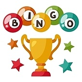 Bingo or lottery game illustration with balls and award