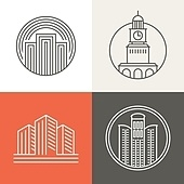 Vector buildings and houses logos