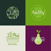 Vector logo design template with fruit and vegetable icons in tr