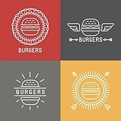 Vector burger logo design elements in linear style