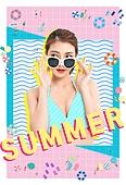 여름, 계절, 컬러, 수영복, 비키니, 패턴