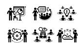 Business presentation teamwork concept icons