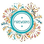 Background with abstract fireworks and salute